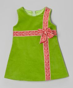 Take a look at this Green & Red Corduroy Bow Dress - Infant, Toddler & Girls on zulily today!
