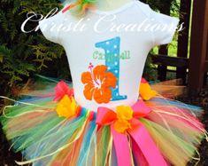 Hawaiian Luau--Baby Girl 1st  Birthday Tutu Set--Personalized--Pink--Orange--Hibiscus