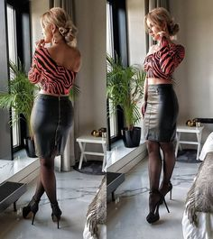 Rock Outfits, Casual Outfits, Black Leather Mini Skirt, Leather Shorts, Pantyhose Fashion, Leder Outfits, Sexy Legs And Heels, Mid Length Dresses, Models