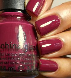 Purr-Fect Plum Dirty cherry berry creme (China Glaze Fall Plus Love Nails, How To Do Nails, Pretty Nails, Fun Nails, Dream Nails, China Glaze Nail Polish, Swatch, Colorful Nail Designs, Nail Polish Colors