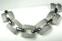 Hattie Carnegie silver metal bracelet.