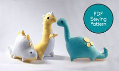 Dinosaur Pattern Bundle, PDF Sewing Pattern, Brontosaurus T-Rex and Stegosaurus Sewing Pattern Set