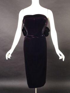 TOM FORD-2012 Purple Velvet & Silk Cocktail Dress, Size 8