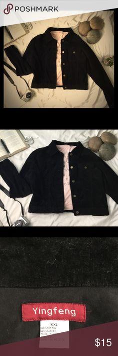 3/4 Length Corduroy Jacket. Cute Black long sleeve Corduroy Jacket. Very versatile. Bottoms on the side make it adjustable and fun. Yingfeng Jackets & Coats Jean Jackets