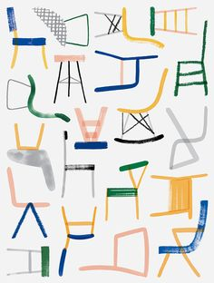 This is a collage of different chairs drawn in lines of different felt tip pens and pencils made by Charlotte Trounce, I chose this collage because I really like the way that the chairs are drawn with only just lines adding a sense of simplicity to those chairs.