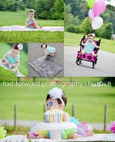 baby first birthday photo shoot pose and props ideas outdoor session. love the colors and the romper. birthday cake. colorful birthday