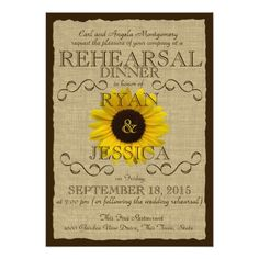 Sunflower Wedding Rehearsal Dinner Country Sunflower Rehearsal Dinner Card