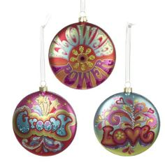 """Amazon.com: Glass Hippie Disc Ornament - 3 Assorted: """"Flower Power"""", """"Groovy"""" and """"Love"""": Home & Kitchen"""