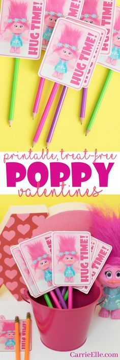 Printable Poppy the Troll Valentines – these are so cute! Just attach to a pecil… Printable Poppy the Troll Valentines – these are so cute! Just attach to a pecil or a cute little troll trinket for the perfect treat-free Valentine idea. Valentines Day Treats, Valentines Day Party, Valentines For Kids, Valentine Day Crafts, Movie Crafts, Pink Crafts, Troll Party, Valentine Activities, Valentine's Day Printables
