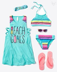 Take sunny hues and punchy prints to the beach! Cute Girl Outfits, Kids Outfits Girls, Cool Outfits, Summer Outfits, Tween Fashion, Fashion Outfits, Ropa Interior Boxers, Justice Clothing, Justice Outfits
