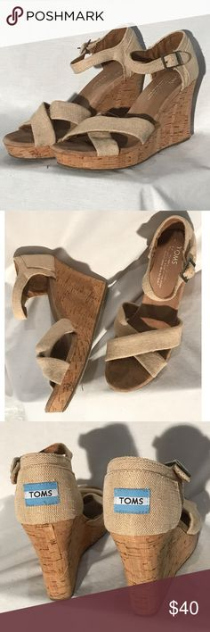 TOMS Natural Yarn Dye Women's Sienna Wedges TOMS Natural Yarn Dye Women's Sienna Wedges— super cute and in good condition. Size 7.5 Toms Shoes Heels