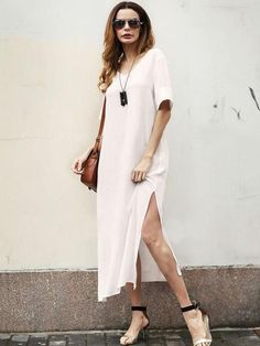 Sheinstreet Spring and Summer Simple Split-side V-neck Midi Dress Plus Dresses, Casual Dresses, Midi Dresses, Bohemia Dress, V Neck Midi Dress, Vacation Dresses, Overall Dress, Swim Dress, Simple