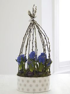 Picture Perfect: Hyacinths in a Pussy Willow Frame Easter Flowers, Flower Frame, Flower Decorations, Table Decorations, Seasonal Decor, Holiday Decor, Plant Hanger, Floral Arrangements, Floral Design
