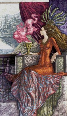La reine de coupes - Universal Fantasy Tarot par Paolo Martinello
