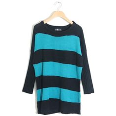 black and blue striped sweater qqone.com ❤ liked on Polyvore