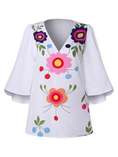 Polo Shirt Women'S VNeck Print Top Trumpet Sleeve Shirt Silk Skiing Ladies' Tops Color white Size S Polo Shirt Women, Black Crop Tops, Floral Blouse, Shirt Sleeves, Blouses For Women, Like4like, Women's Fashion, Fashion Dresses, Ladies Tops