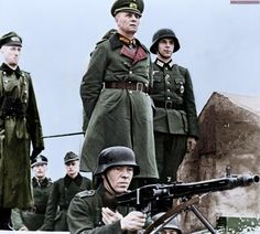 Field Marshall Erwin Rommel inspecting the beach defenses in Normandy, 1944.
