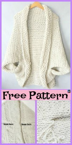 Beautiful Knit Blanket Sweater Free Patterns - DIY 4 EVER : 10 Beautiful Kni.Thanks for this Beautiful Knit Blanket Sweater Free Patterns - DIY 4 EVER : 10 Beautiful Knit Blanket Sweater Free Patterns Shrug Knitting Pattern, Sweater Knitting Patterns, Knit Shrug, Crochet Shrugs, Vest Pattern, Crochet Patterns, Free Knitting Patterns For Women, Free Pattern, Knitting Sweaters
