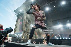 Oliver Sykes from Bring Me the Horizon performs at Rock en Seine on August 27, 2016 in Paris, France.