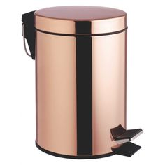 The on-trend Collier copper metal bathroom bin has rosy tones and adds warmth to a cool bathroom. Buy now at Habitat UK.