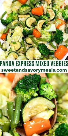 Panda Express Mixed Veggies is a delicious combination of fresh, crisp veggies stir-fried in soy sauce and aromatics. #pandaexpress #mixedveggies #vegetarian #sweetandsavorymeals #healthyrecipes