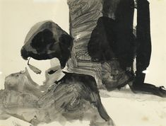 """Elmer Bischoff (American, 1916-1991), Untitled (Portrait of a Woman Looking Downward), ink wash, unsigned, sight: 10""""h x 12.75""""w, overall (with frame): 17""""h x 20""""w. Provenance: Gifted to current owner by the artist Self Portrait Artists, Ink Wash, Magazine Art, Art Market, Looking For Women, Batman, Museum, Watercolor, Superhero"""