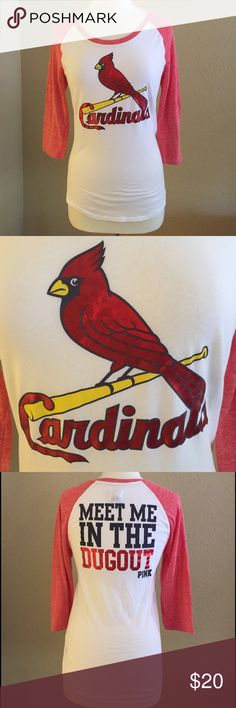 """""""Victoria Secret Pink"""" Cardinals Baseball t Show your love and spirt year round for your favorite team in this Super cute! St. Louis Cardinals baseball t. Worn once. Nonsmoking***  there is a slight color variation on the cardinal, not sure if this is a flaw or was purchased that way but I have seen this on other similar shirts.  No Trades plzzz😊 PINK Victoria's Secret Tops Tees - Long Sleeve"""
