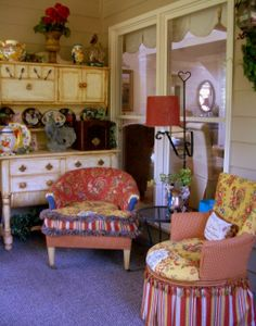 """Welcome to my porch and meet the two old """"ladies"""" I rescued from the landfill ! , I picked up these two old chairs dressed them in new """"froc..."""