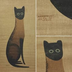 Mid-Century Stell and Stevis Siamese cat wall hanging. Very tempting to keep this but it is up for auction in my eBay store. . . . #stellandstevis #siamesecat #mcm #1950s #catart #handprinted #screenprint #vintageebay