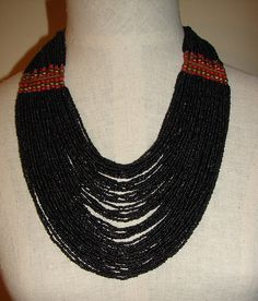 1970's African Black Small Beaded Necklace by NopalitoVintageMore, $100.00