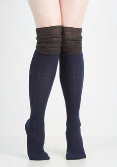 Knittin' Pretty Thigh Highs in Navy and Ash - Blue, Grey, Casual, Colorblocking, Fall, Winter, Knit