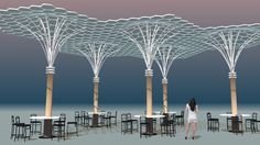 Circles in Hexagons-2a Tanslucent Restaurant Canopy - 3D Warehouse