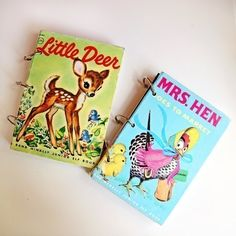 Diy Vintage Children's Book Note Books  •  Free tutorial with pictures on how to make a recycled book notebook in under 60 minutes
