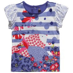 Girls Blue Cotton Fish T-Shirt - T-Shirts - Tops - Girl | Childrensalon