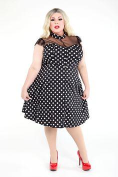 Domino Dollhouse - Plus Size Clothing: Dotty Vamp Doll Dress
