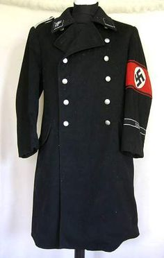 Allgemeine SS greatcoat. Notice the red Swastika armband and the SS symbol on the collar