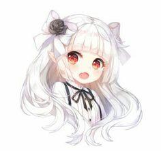 Anime Girl, Chibi, Cheveux blancs, Elf Ears, Red Eyes - Buddy The Elf Anime Neko, Kawaii Anime Girl, Art Kawaii, Arte Do Kawaii, Loli Kawaii, Cute Anime Chibi, Pretty Anime Girl, Chica Anime Manga, Kawaii Chibi