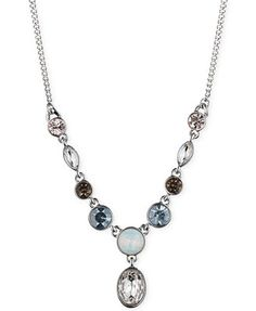 Givenchy Silver-Tone Blue Stone Y-Necklace