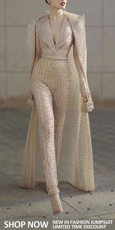 [New In Shop Now] Fashion V Neck Pure Colour Jumpsuit There are a lot of sexy fashion design jumpsuits, evening dresses, coats. The best choice for you, Look Fashion, Womens Fashion, Fashion Design, White Fashion, 20s Fashion, Fashion Hacks, Bridal Fashion, Fashion Ideas, Mode Outfits
