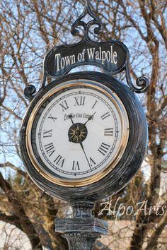 Walpole Street Clock, 8x10 photo, street photography, New Hampshire, clock, retro, vintage, wall art, time, New England, HDR, fine art, art