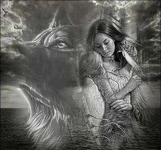 Black & White Wolf w/ Native Girl