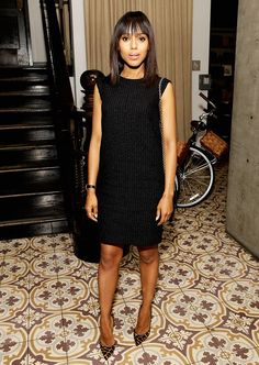 kerry washington little black dress and leopard pony hair point toe heels