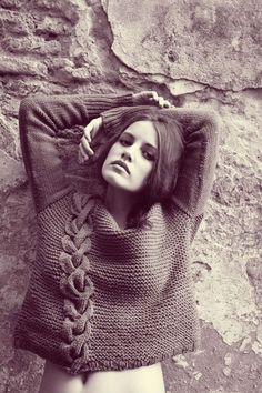 Garzon Luxury Knitwear A/W '12. Off-center, chunky cable atop garter stitch. Love the textures that are so easy to achieve.
