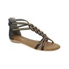 ATTAIN-4 Women's Fashion Flat Sandals - Black