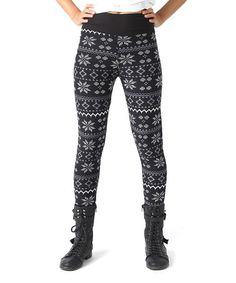 Another great find on #zulily! Black & White Snowflake Zip-Up Leggings - Girls by Rated G #zulilyfinds