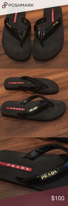 c94f46db1dd0c6 Prada Thong Flip Flops Shoes are in great preloved condition. They have a  black patent