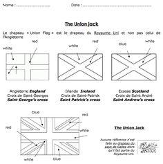 Un petit document qui explique la formation de l'Union Jack (le drapeau britannique), à compléter par les enfants. The Union Jack