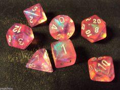 Chessex Dice Borealis Pink w/Silver 7-Die Set Gaming d4,d6,d8,d10,d12,d20