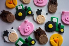 Edible cake toppers-- farm animals & tractors