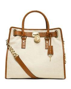 MICHAEL Michael Kors Hamilton Canvas Tote Bag - Ecru/Luggage